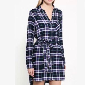 Gap Pendleton plaid shirt dress size large petite